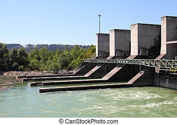 Hydro power plant on Traun river in Marchtrenk, Austria. Concrete dam.