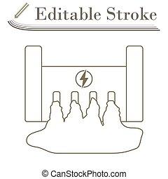 Hydro Power Station Icon. Editable Stroke Simple Design....