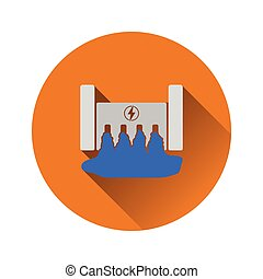 Hydro power station icon. Flat color design. Vector...