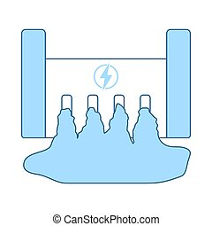 Hydro Power Station Icon. Thin Line With Blue Fill Design....