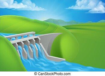 hydro, represa, água, gerando, electricidade, poder