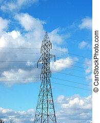 hydro, torre, ligado, a, céu azul, fundo, (centered)