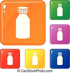 Hydrochloric acid icons set vector color - Hydrochloric acid...