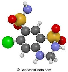 Hydrochlorothiazide diuretic drug, chemical structure. Atoms...
