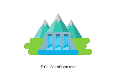 hydroelectric dam eco friendly ,4k video animation