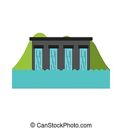 hydroelectric dam isolated icon