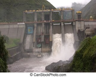 Hydroelectric dam - The Agoyan Dam on the Pastaza River near...