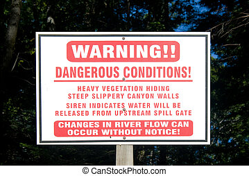 Hydroelectric Dam Warning Sign
