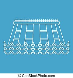 Hydroelectric icon, outline style - Hydroelectric icon blue...