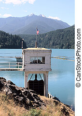 Hydroelectric Plant and Glines Canyon Dam on Lake Mills