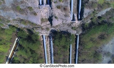 Hydroelectric power plant aerial - Aerial view of the...