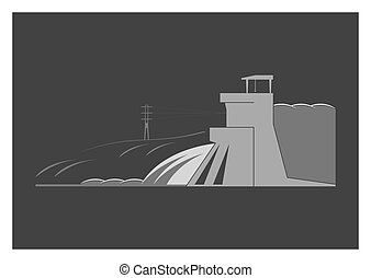 Hydroelectric power plant. Isolated on background. Vector...