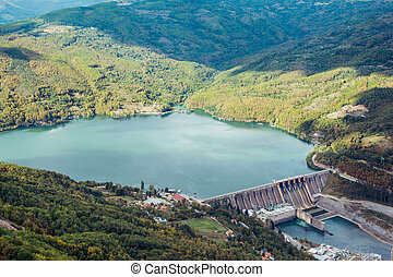 Hydroelectric power plant Perucac on Drina river.