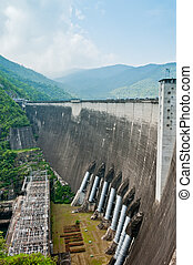 Hydroelectric power production of  Bhumibol dam building, Thailand