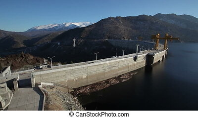 hydroelectric power station, aerial view