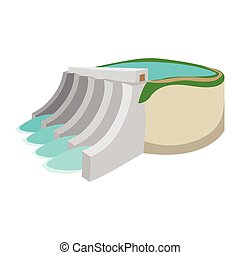 Hydroelectric power station cartoon icon