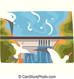 Hydroelectric power station, hydro energy industrial concept, renewable resources horizontal vector illustration