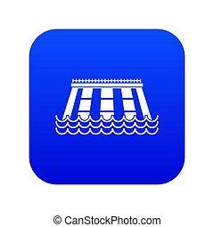 Hydroelectric power station icon digital blue