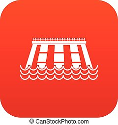 Hydroelectric power station icon digital red