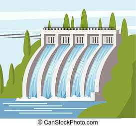 Hydroelectric power station icon, cartoon style