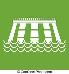 Hydroelectric power station icon green