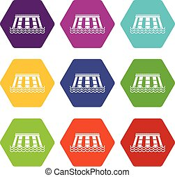Hydroelectric power station icon set color hexahedron