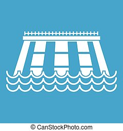Hydroelectric power station icon white