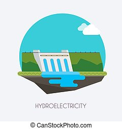 Hydroelectric power station.  Landscape and industrial factory buildings concept. Vector flat infographic.