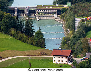 hydroelectric power station on the river salzach