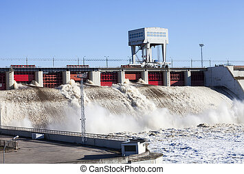 Hydroelectric power station - Spring flood water flowing on ...