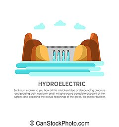Hydroelectric power station water dam energy vector flat illustration