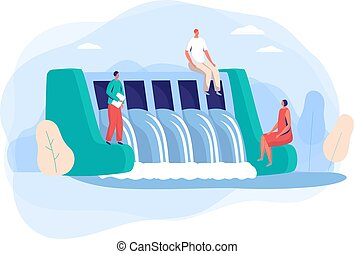Hydroelectric power station with people characters in city concept and vector illustration on white background. Eco clean electric power.