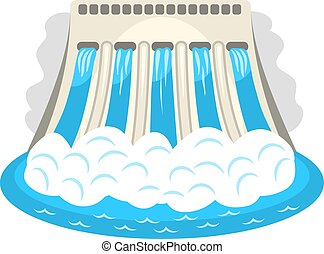 Hydroelectric station color vector icon. Alternative energy symbol water-power plant.