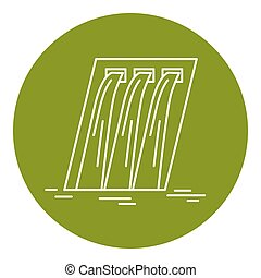 Hydroelectric station icon in thin line style