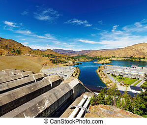 Hydroelectric station - Lake Benmore hydroelectric dam, New ...