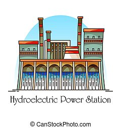 Hydroelectric station with waterfall, hydro plant - Cartoon...