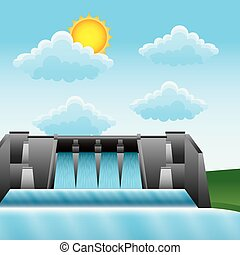 hydroelectric water power dam generating renewable electricity