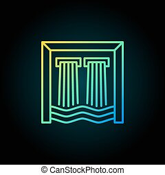 Hydroelectricity colorful outline icon