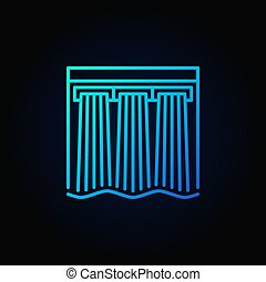 Hydroelectricity vector blue icon - hydroelectric dam...