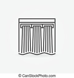 Hydroelectricity vector icon - hydroelectric dam outline...