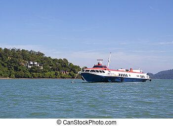 hydrofoil, bateau, passager