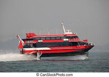 hydrofoil, hong kong, élevé, porcelaine, ferry-boat, accélérez bateau