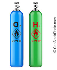 Hydrogen and oxygen cylinders with compressed gas isolated...