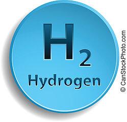 Blue hydrogen circle button. eps10