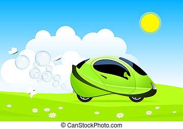 Hydrogen car concept - Vector illustration of hydrogen car...