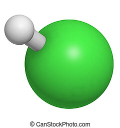 Hydrogen chloride (HCl) molecule, chemical structure. HCl is a highly corrosive mineral acid and is the acid component of gastric juice.