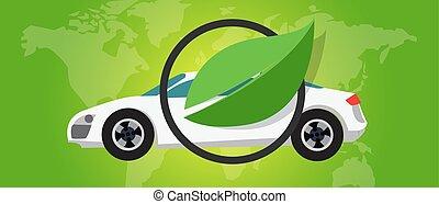 hydrogen fuel cell car eco environment friendly zero emission green leaf