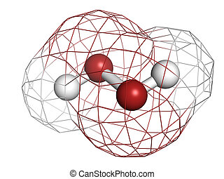 Hydrogen peroxide (H2O2) molecule, chemical structure. HOOH...