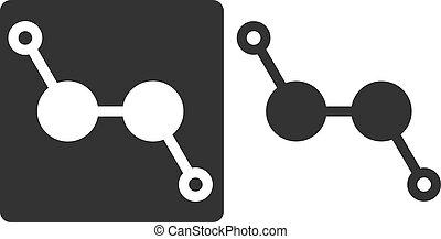 Hydrogen peroxide (H2O2) molecule, flat icon style. Atoms ...