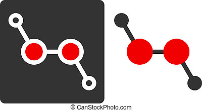 Hydrogen peroxide (H2O2) molecule, flat icon style. Atoms shown as color-coded circles (oxygen - red, hydrogen - grey).